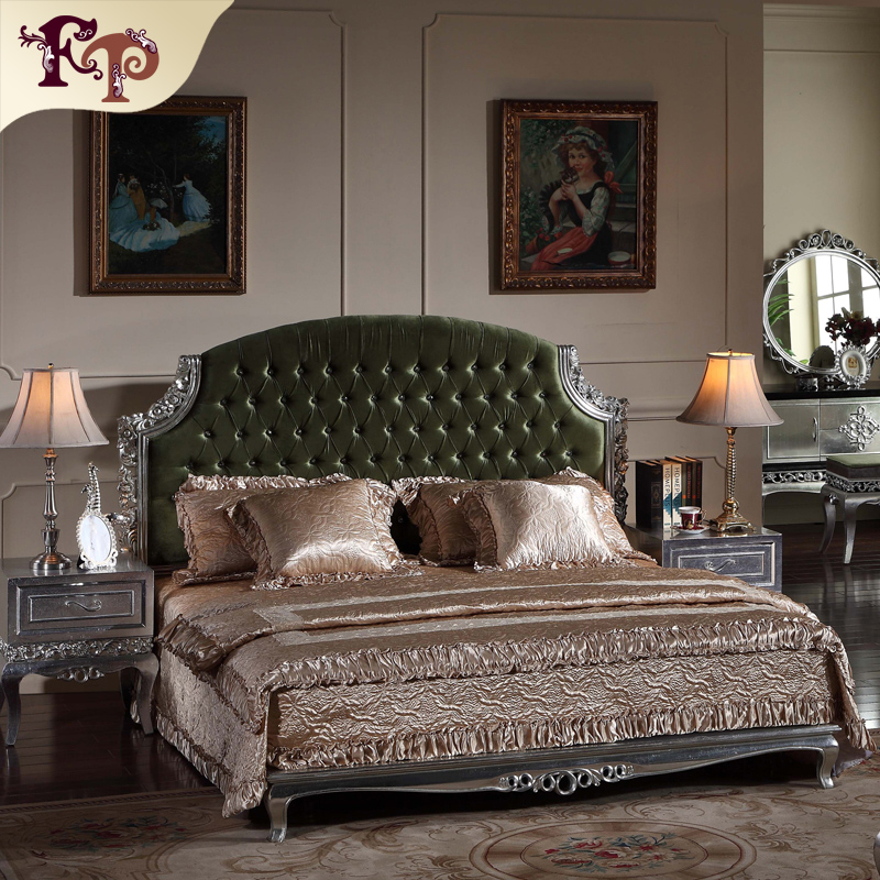 neoclassical furniture silver foil leaf gilding hand carved bed