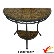 antique three leg half round dining table with tile top