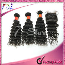 Great quality human hair extensions Malaysia deep wave mixed length hair bundles and Light brown lace closure