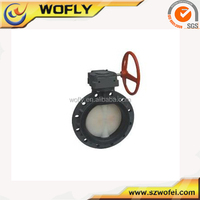 cast iron lever operated wafer type worm gear butterfly valve