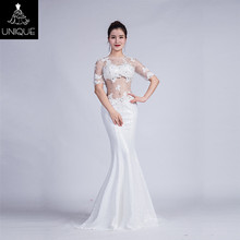 ali express long evening dress women dresses wedding gown Newest white O neck short sleeve evening gowns