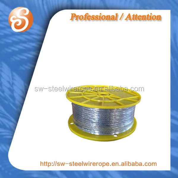 6x7+FC electric galvanized steel wire rope cable 1.5mm-12mm soft coil DIN3055