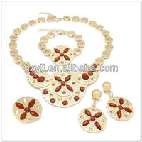 2013 Newest design dubai 18K plated gold jewelry set