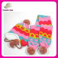 kids cotton winter hats fashion children scarf hat glove sets