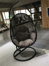PE Wicked Rattan Egg shaped haning chair,egg shaped swing chair,Hanging egg Chair with cushion