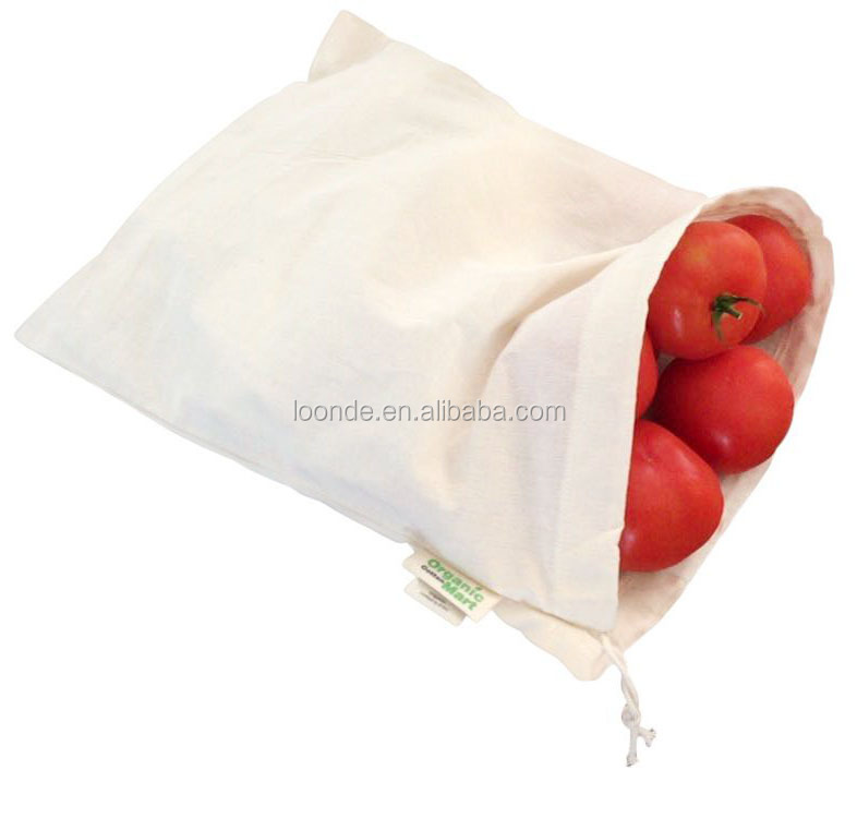 Organic cotton gauze produce drawstring package bag