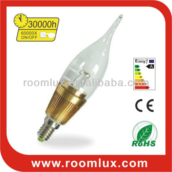 low power consumption E27/E14 LED candle bulb light 3W Dia36X145mm