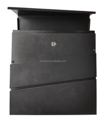 Modern Style Lockable Mailboxes Painted Black Color wall mounted Stainless Steel mailbox With Newspaper Holder