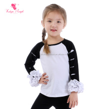 newest boutique kids clothes black and white baby tops cotton ruffled baby t shirt cut out