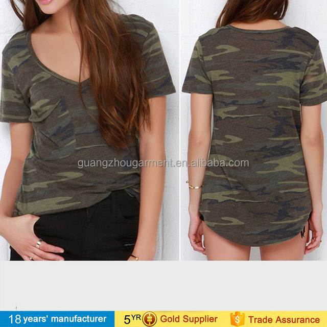 2017 fashion classic street wear casual short sleeve v neck army green military soft tee top camouflage t-shirt for women