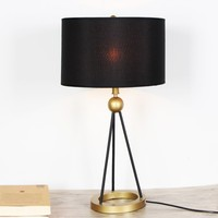 Simple Designs Painted Mini Basic Table Lamp Fabric Shade For Living