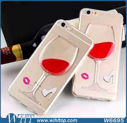Clear TPU Liquid for iPhone 6 Case Wine Design 2015 New Products in China