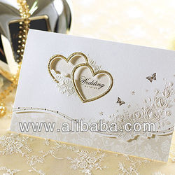 Gold Heart Wedding Invitations Card + Envelope + Seal / 9092