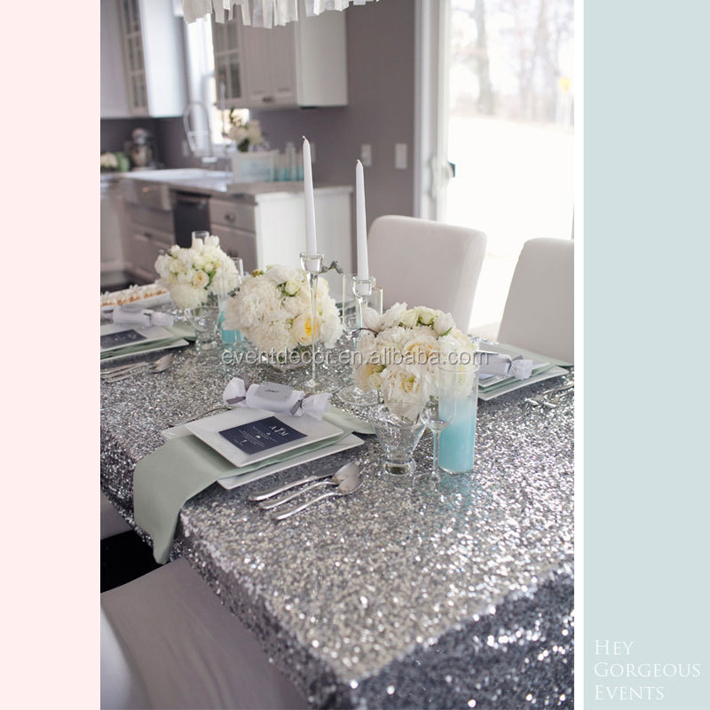 Luxury silver glitter sequined table cloths , rectangle runner cloth for party banquet