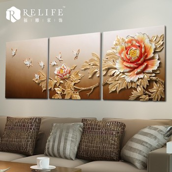 Modern 3D resin relief painting art flower wall decorations