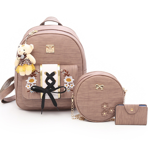 36ce3efe33 Hot selling women s PU leather purse ladies travel backpack bag set