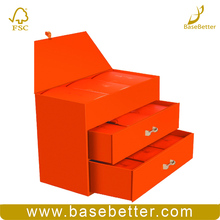 Custom Jewelry Cosmetic Box Orange Clear Drawer Wood Gift Box