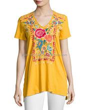 Sta-00258 Hot Selling Women Short Sleeve Ethnic Style Hand Embroidery Designs Blouse For Party Casual Top