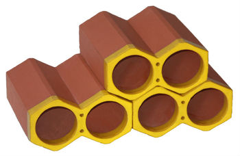Spanish, terracotta, stackable single glazed ceramic yellow wine holders and bottle racks, made of clay