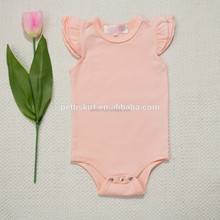 High Quality Boutique NewBorn Baby Clothes Baby Organic Cotton Flutter Sleeve Romper Kids Bodysuit With Metal Snap