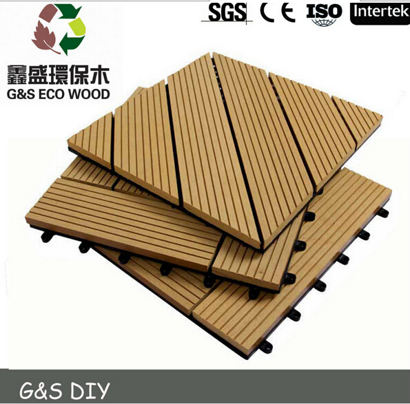 Hot selling!! waterproof vinyl tile floor eco-friendly wpc interlocking decking tiles cheap price wpc diy flooring