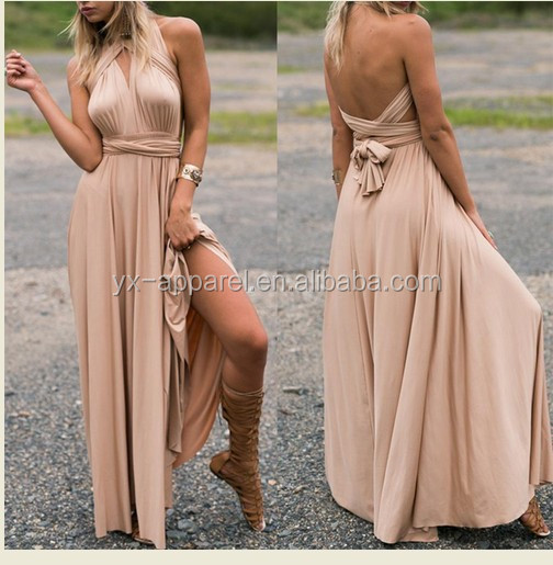 Women transformer infinity convertible maxi bridesmaid dress
