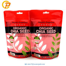 Custom Logo Organic Chia Seeds Packaging Stand Up Plastic Ziplock Bag