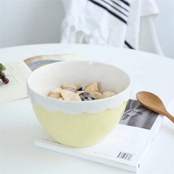 Restaurant kitchen large round shape fancy personalized wavy rim ceramic mixing bowl