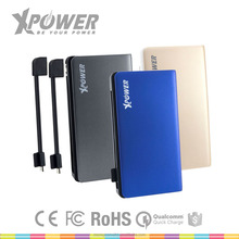 XPOWER Wholesales Safety CE FCC 8000mAh Built-in Cable Portable Power bank for smartphone