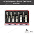 10pcs XZN Tampered Triple Square Spline Bit Socket Set(VT01910)