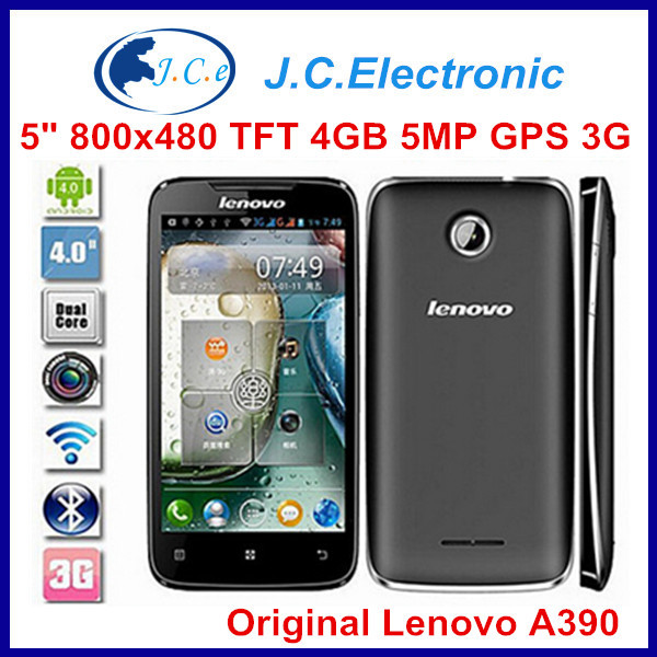 "4.0"" Lenovo A390 512M/4G 5.0MP 800*480 Android 4.0 Dual Core Dual SIM Russian smartphone with 1500mAh Battery A390T"
