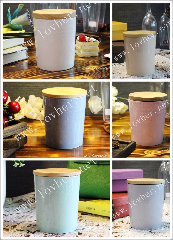 Porcelain coffee tea canister with wood for kitchen