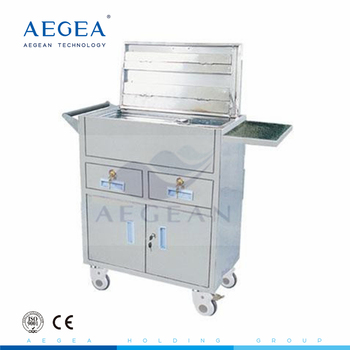 AG-ET019 With two drawers hospital ambulance stainless steel kitchen trolley
