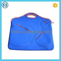 Custom Blue handled neoprene notebook bag with outside pockets