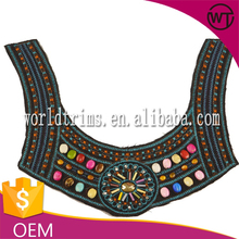 Hot sale embroidery designs with beads for neck WTA178
