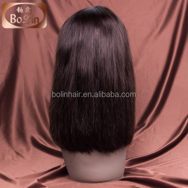 100% Human Hair #4 Medium Brown Bob Style #4 Medium Brown Short Bob Straight Brazilian Lace Front Wig With Bang