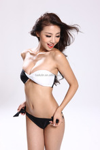 Chinese bathing suit with double color bra