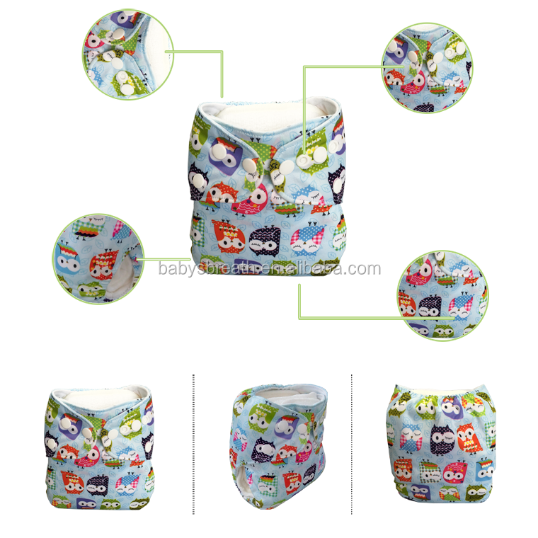 100% Cotton cartoon printed adjustable new baby cloth diaper, reusable nappies
