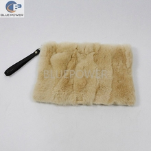 Elegant women real piece of rex rabbit fur handbag with weave on contrary