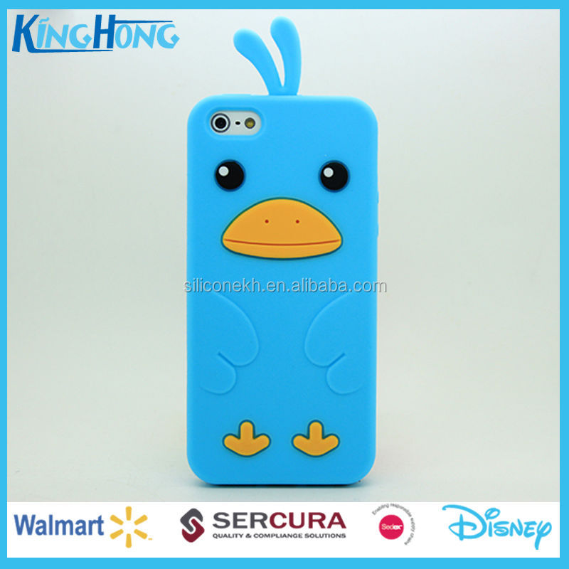 Hot duck animal custom silicone mobile phone accessories case for Iphone5, Iphone6