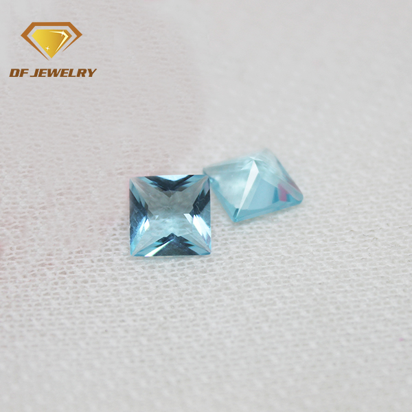 7x7 mm square princess cut aqua blue color glass loose crystal stone for decorate