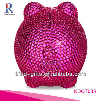 Hot Sale Christmas Gift Bling Rhinestone Personalised Piggy Bank With Crystal China Supplier