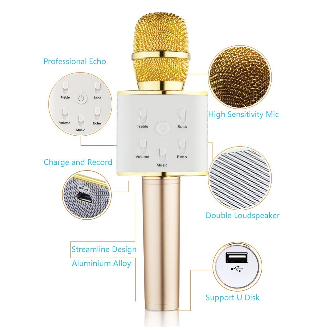 Portable Handheld Microphone Wireless Karaoke Speaker for Singing Recording Interviews Home KTV Party