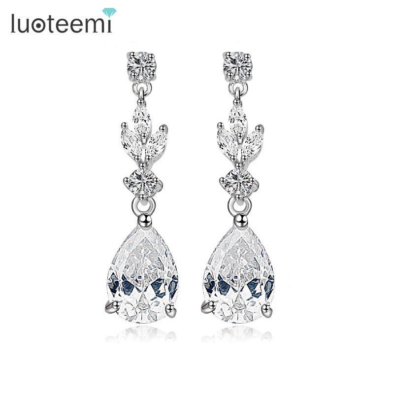 LUOTEEMI Wholesale Stock Clear CZ Fashion Women Jewelry Gift <strong>Water</strong> Drop Dangling Bridal Earrings