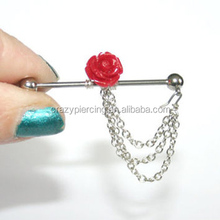Chaming Industrial Barbell Ear Piercing With Red Rose Dangle Industrial Piercing Body Jewelry