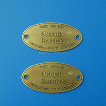 oval two hole metal nameplate, customized company brand logo metal tag, staff name tag