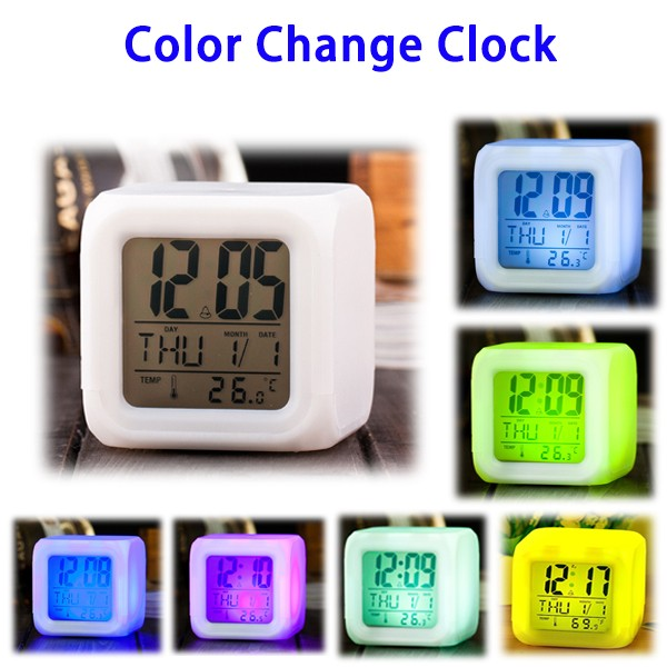 Free Sample Thermometer Glowing LED Cube Digital Alarm Clock for Children and Adults