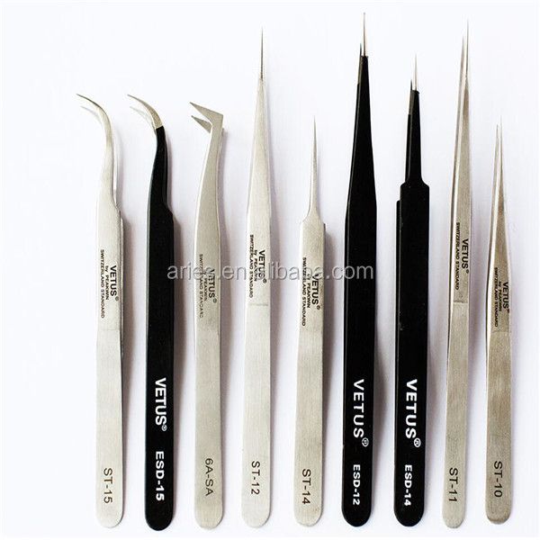 Original Vetus Tweezers Fine Straight Tip Eyelash Eyebrow Extension Tool Beauty Lash Application Accessory (#ST-11)