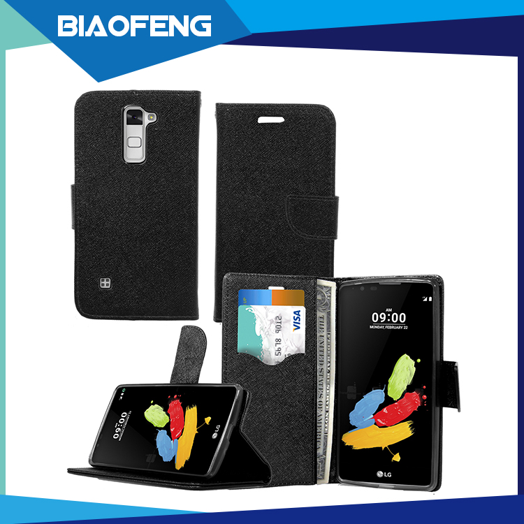 Alibaba hot products smart health protective leather wallet phone case with card slot for lg ls775/stylus 2