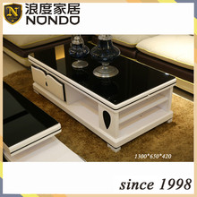 Black tempered glass coffee table designs with heart shape CJB7026